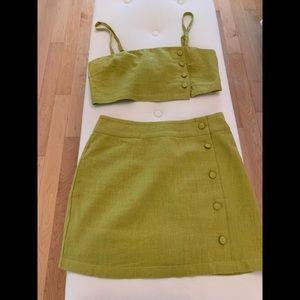 2 piece Green linen crop top with miniskirt